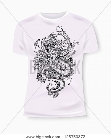 T-shirt print design. T-shirt Graphics. T-shirt graphics for textile. Skull and snake. Skull vector. Snake vector. Skull cartoon. Snake cartoon. Skill and Snake isolated. Skull and Snake vintage style