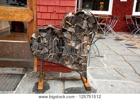 heart from chopped firewood  in Bavaria, in southern Germany