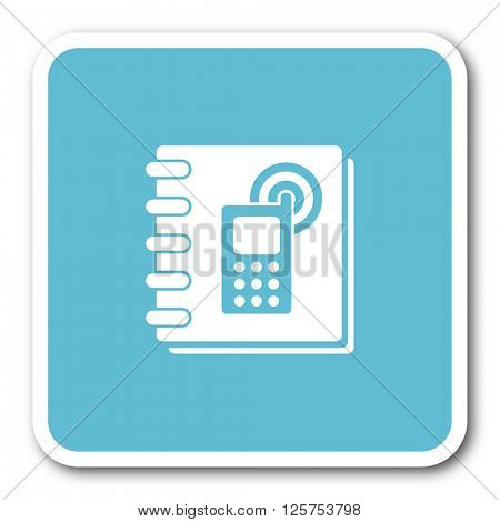 phonebook blue square internet flat design icon