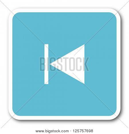prev blue square internet flat design icon