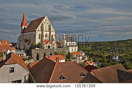 The Church Of St. Nicholas and the chapel of St. Vaclav in old town Znojmo at sunset