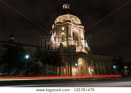 Pasadena City Hall in Mediterranean Revival and Spanish Colonial Revival architectural Styles emphasised by night lighting