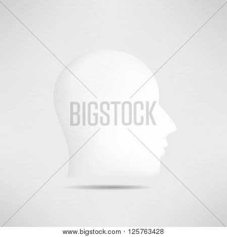 Human head profile silhouette isolated. 3d mans head avatar. Internet anonymous head profile pic. Social network guest avatar.