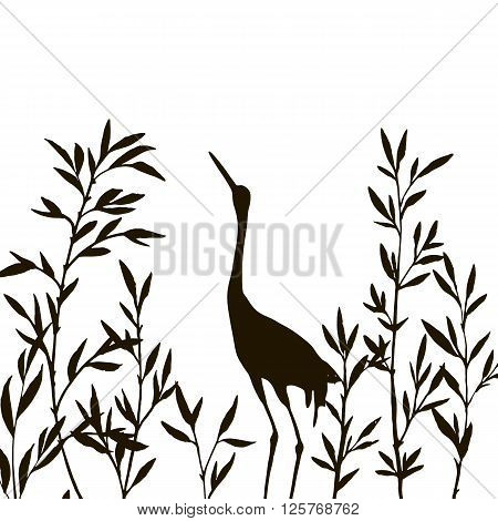 heron in thicket of branches with leaves, crane bird and bamboo shoots, hand drawn vector illustration