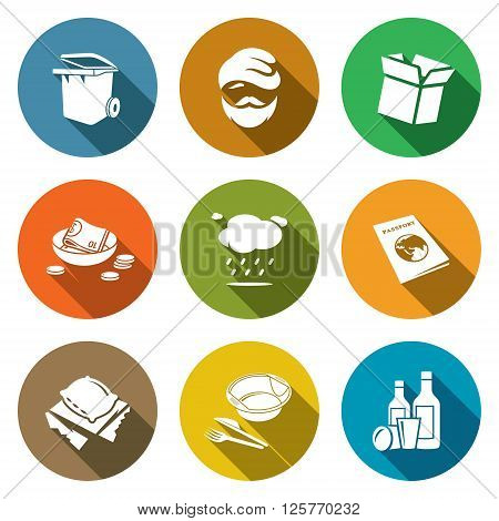 Social phenomenon homeless Icons Set. Vector Illustration. Isolated Flat Icons collection on a color background for design