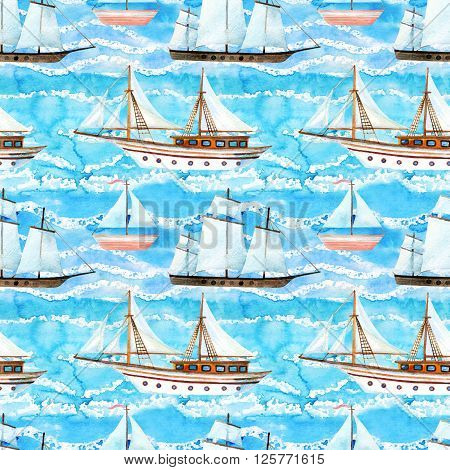 Watercolor sailing ships seamless pattern on blue waved background. Hand painted marine transport illustration. Travel cruise pattern