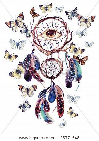Dream catcher with feathers and all seeing eye. Watercolor ethnic dreamcatcher and butterfly isolated on white background. Hand painted illustration for your design