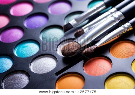 Makeup brushes and make-up eye shadows poster