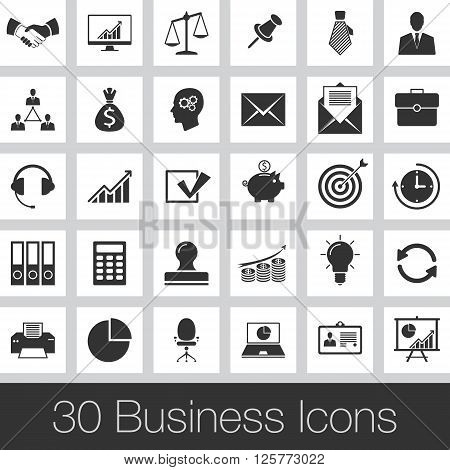 Business set of icons. set of flat icons with long shadows