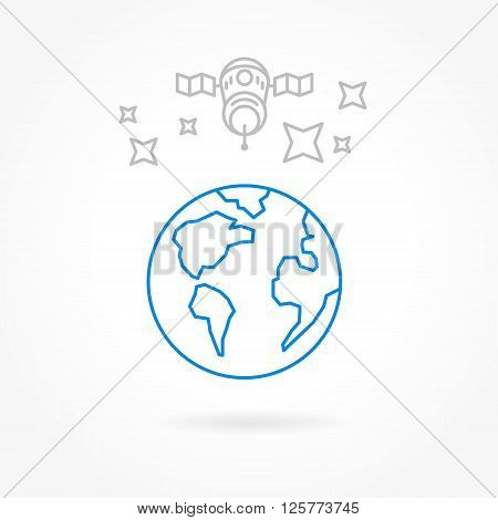 satellite icons lines style transportation receiver globe