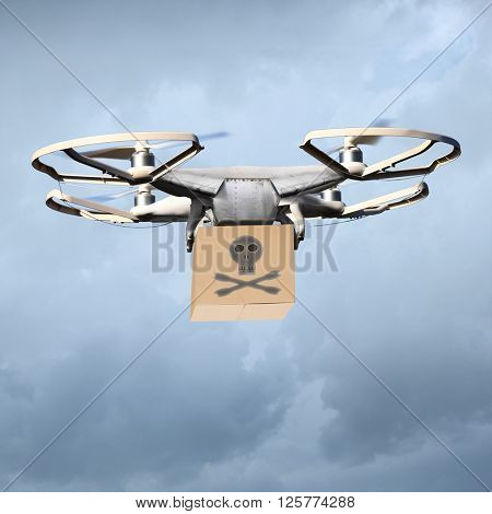 Drone as a smuggler of drugs or dangerous terrorist with bomb. Digital artwork fictional vehicle on UAV theme. poster