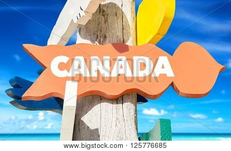 Canada signpost with beach background