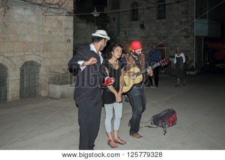 Jerusalem, Israel, 10 September 2015: Street musicians play the scene in old Jerusalem, Isarel