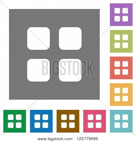 Large grid view flat icon set on color square background.