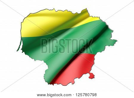 Silhouette Of Lithuania Map With Flag