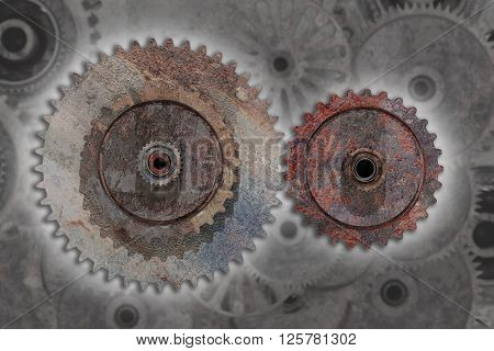 Two Rusty Cogwheels In Close-up