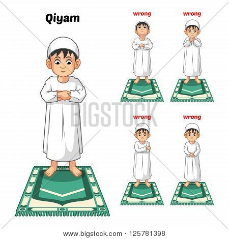 Muslim prayer position guide step by step perform by boy standing and placing both hands or qiyam with wrong position