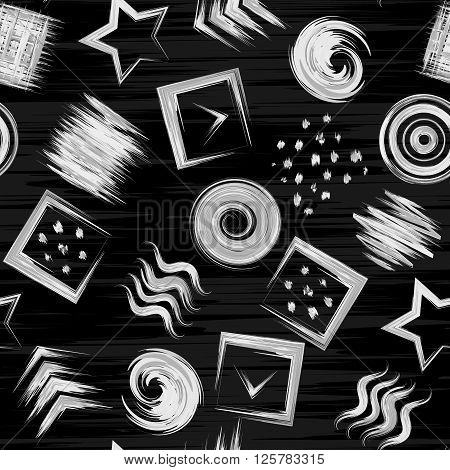 Seamless geometric grunge hand drawn paint brash pattern in vector. Square wave circle swirl star dot background. Black and white.