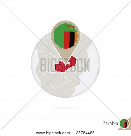 Zambia Map And Flag In Circle. Map Of Zambia, Zambia Flag Pin. Map Of Zambia In The Style Of The Glo