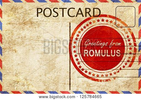 greetings from romulus, stamped on a postcard
