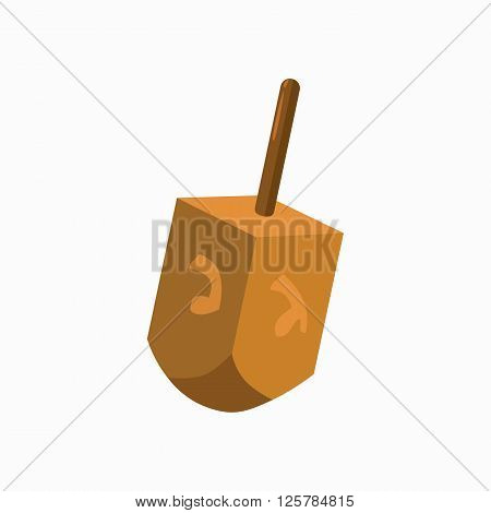 Hanukkah dreidel icon in cartoon style isolated on white background. Some letters of the Hebrew alphabet founding on the dreidel.