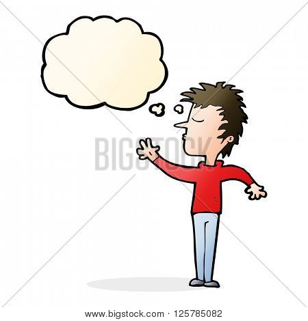 cartoon dismissive man with thought bubble