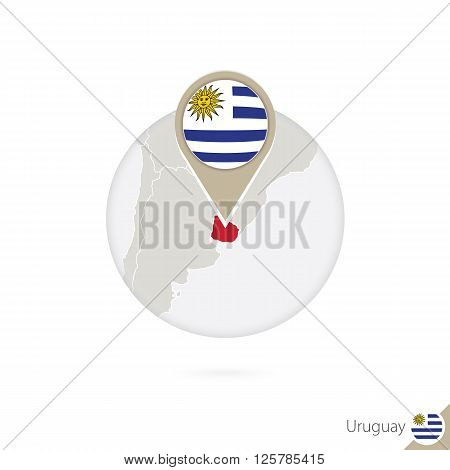 Uruguay Map And Flag In Circle. Map Of Uruguay, Uruguay Flag Pin. Map Of Uruguay In The Style Of The