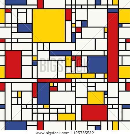 Seamless abstract mosaic pattern. (Piet Mondrian emulation).
