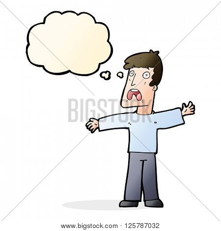 cartoon frightened man with thought bubble poster