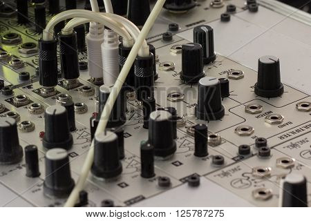 modular synthesizer analogue synth closeup - music equipment poster