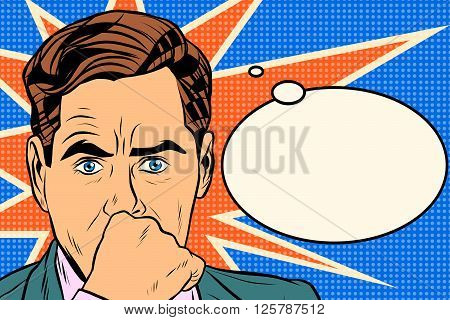 businessman thinker man pop art retro style. Business concept idea. Vector thought