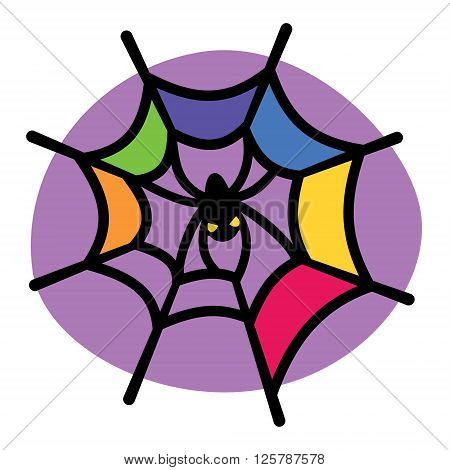 Colorful spider web and spider. Vector illustration.