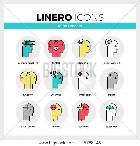 Mind Process Linero Icons Set