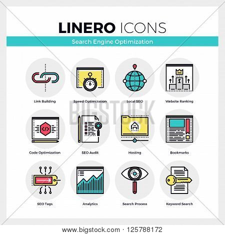 Search Engine Optimization Linero Icons Set