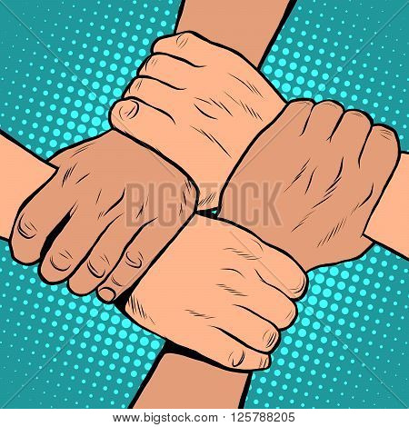 White black solidarity handshake stop racism pop art retro style. The policy of tolerance. Friendship between peoples. Day against racial segregation and discrimination