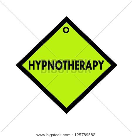 HYPNOTHERAPY black wording on quadrate green background