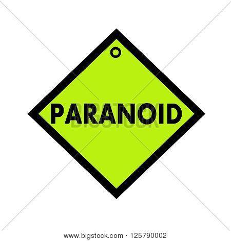 PARANOID black wording on quadrate green background