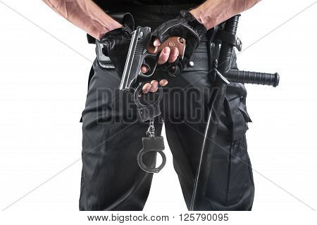 Police Officer With Handcuffs And Gun. Isolated On White.
