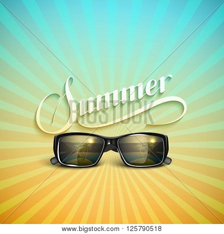 vector typographic illustration of handwritten Summer retro label with sunglasses. lettering Summer composition. Vector sunglasses. Vacation Summer vector concept with sunglasses