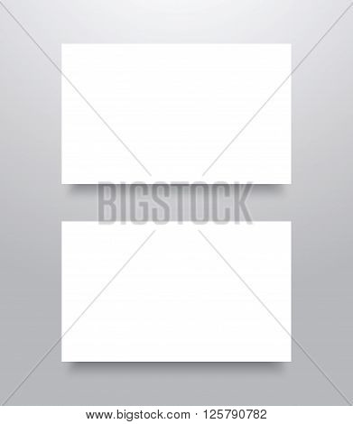 Blank Business card mockup template with shadow. Vector illustration