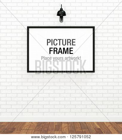 Picture of big black frame on white brick wall