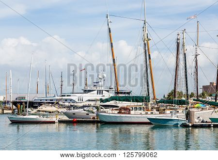 Yachts and Sailboats in Key West Marina