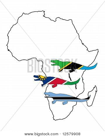 Detailed and colorful illustration of nile crocodile Africa poster