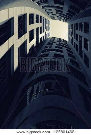 Dark Inner Courtyard Of Tall Bent Tower. 3D