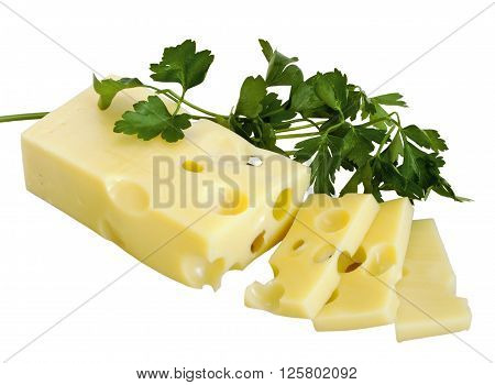 Cheese emmental and parskey isolated on white background