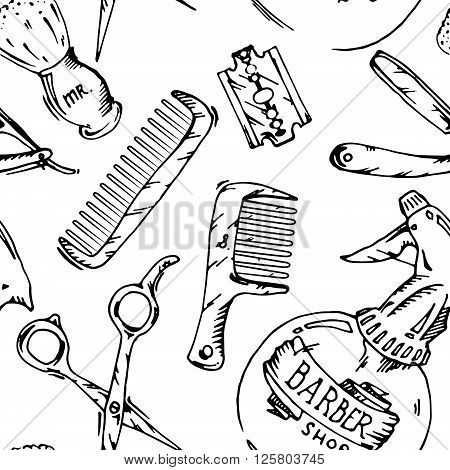 Vintage tools of barber shop. Black and white hand drawn vector stock seamless background pattern