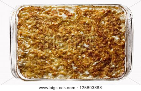 A casserole of baked macaroni and cheese.