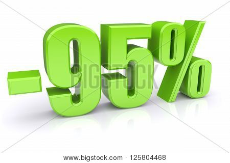 95% discount icon on a white background. 3d rendered image