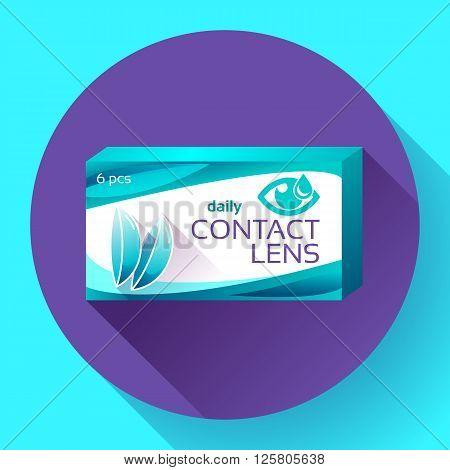 Contact lenses box icon. Flat design style