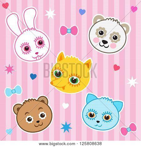 Ice Childish Background. Cat Panda Fox Bear Rabbit. Seamless Vector Pattern. Baby Animals Playing Together. Baby Animal For Kids. Baby Animals Pictures. Baby Animal Faces. Baby Animal Mask.